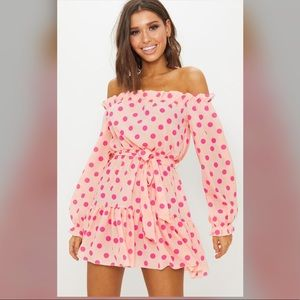Pretty little thing NWT Dusty pink polka dot dress